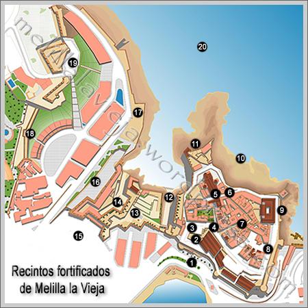 Mapa de los recintos fortificados